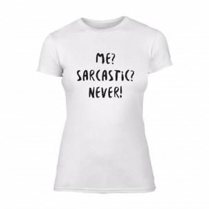 Γυναικεία Μπλούζα Me? Sarcastic? Never! λευκό Χρώμα Μέγεθος XL