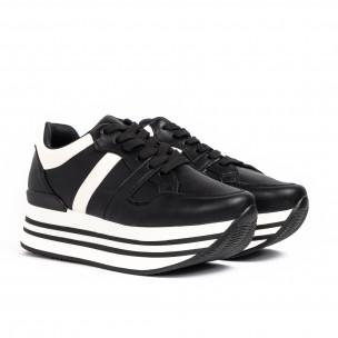 Γυναικεία μαύρα sneakers με πλατφόρμα 2