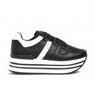 Γυναικεία μαύρα sneakers με πλατφόρμα