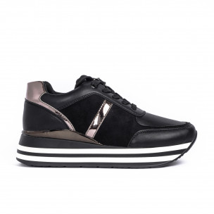 Γυναικεία μαύρα sneakers με συνδυασμό υλικών Martin Pescatore