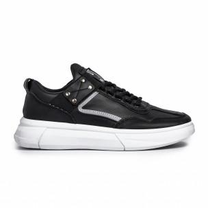 Ανδρικά μαύρα sneakers με λάστιχο