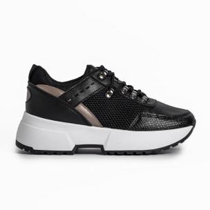 Sneakers με συνδυασμό υλικών σε μαύρο χρώμα