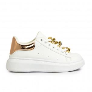 Γυναικεία λευκά sneakers με διακοσμητική αλυσίδα Fashion&Bella