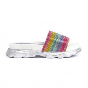 Γυναικείες σαγιονάρες Rainbow Chunky ασήμι