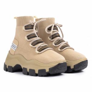 Γυναικεία μπεζ sneakers μποτάκια κάλτσα 2