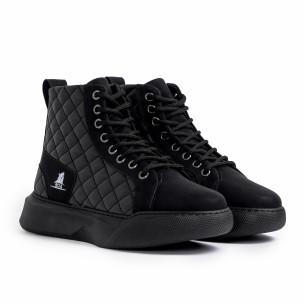 Ανδρικά μαύρα ψηλά sneakers με καπιτονέ  2