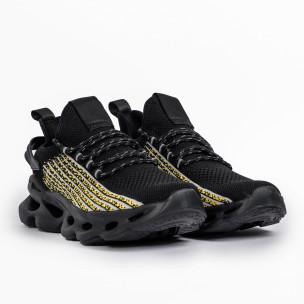 Ανδρικά μαύρα αθλητικά παπούτσια σε υφή Kiss GoGo 2