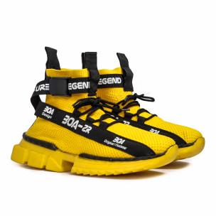 Ανδρικά κίτρινα ψηλά sneakers Boa  2