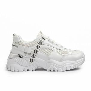 Γυναικεία λευκά Chunky sneakers με δίχτυ
