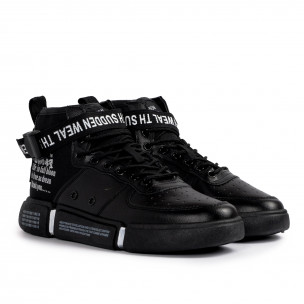 Ανδρικά μαύρα ψηλά sneakers με αξεσουάρ  2