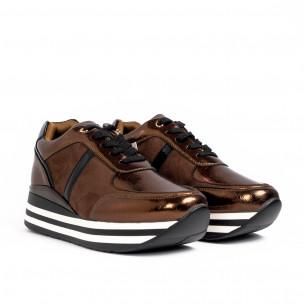 Γυναικεία καφέ sneakers με συνδυασμό υλικών Martin Pescatore 2