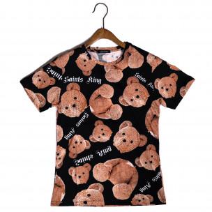 Ανδρική μαύρη κοντομάνικη μπλούζα Teddy Bear
