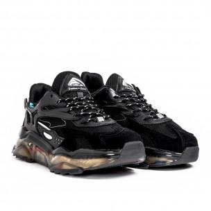 Ανδρικά μαύρα sneakers με λεπτομέρειες σιλικόνης  2