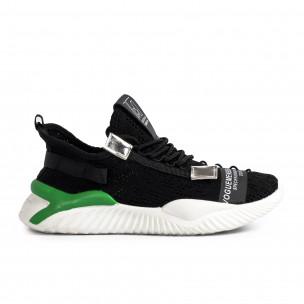 Ανδρικά μαύρα sneakers με πρασινή λεπτομέρεια