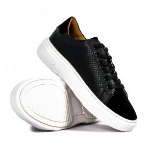 Ανδρικά μαύρα sneakers με Shagreen design 2