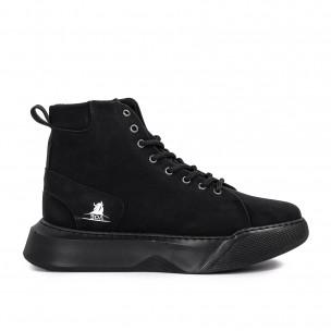 Ανδρικά μαύρα ψηλά sneakers Boa