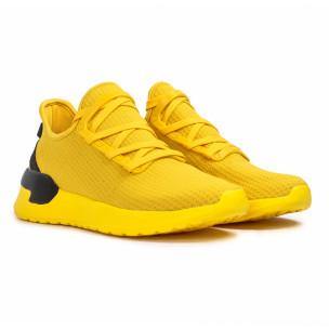 Ανδρικά κίτρινα sneakers κάλτσα Lace detail 2