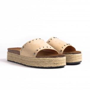 Γυναικείες μπεζ παντόφλες Sweet Shoes 2