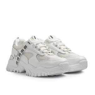 Γυναικεία λευκά Chunky sneakers με δίχτυ 2