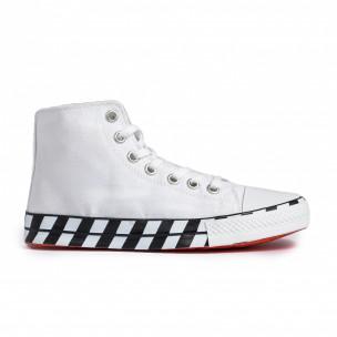 Ανδρικά λευκά ψηλά sneakers με πριντ 2