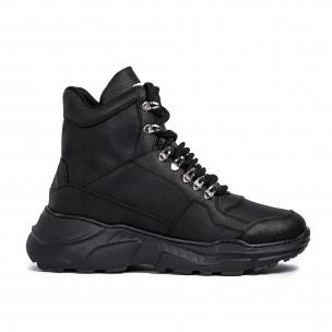 Ανδρικά μαύρα sneakers Trekking design Wagoon