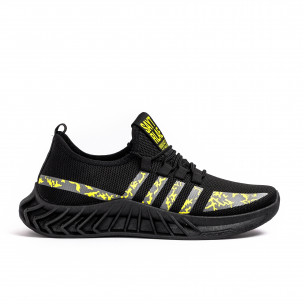 Ανδρικά μαύρα sneakers Black & Yellow
