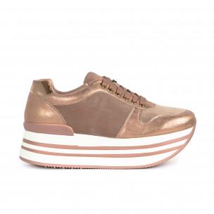 Γυναικεία ροζ sneakers με πλατφόρμα και συνδυασμό υλικών Martin Pescatore