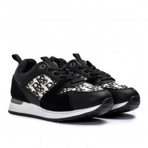 Γυναικεία μαύρα sneakers σε συνδυασμό υλικών  2