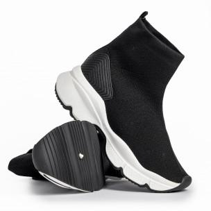 Γυναικεία μαύρα αθλητικά παπούτσια τύπου κάλτσα  2