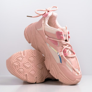 Γυναικεία ροζ Chunky sneakers με δίχτυ  2