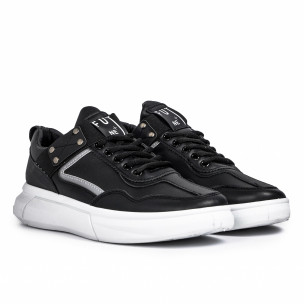 Ανδρικά μαύρα sneakers με λάστιχο 2