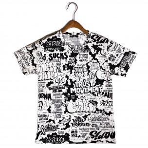 Ανδρική μαύρο και άσπρο κοντομάνικη μπλούζα