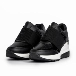 Γυναικεία μαύρα sneakers με πλατφόρμα και strass 2
