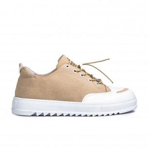 Ανδρικά μπεζ πάνινα παπούτσια  2
