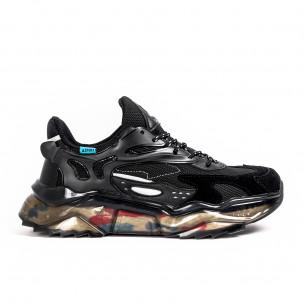 Ανδρικά μαύρα sneakers με λεπτομέρειες σιλικόνης