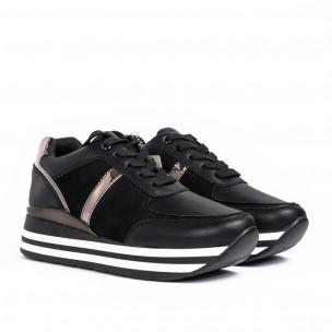 Γυναικεία μαύρα sneakers με συνδυασμό υλικών Martin Pescatore 2