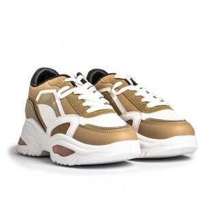 Γυναικεία Chunky Sneakers σε camel χρώμα FM 2