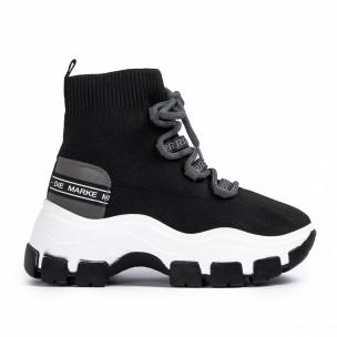 Γυναικεία μαύρα sneakers μποτάκια κάλτσα