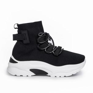 Γυναικεία μαύρα ψηλά sneakers κάλτσα Mellisa