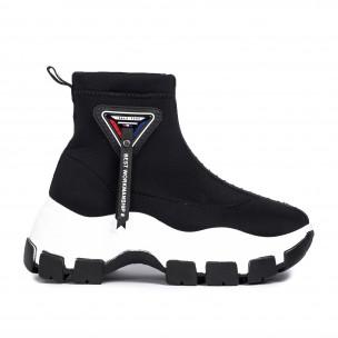 Γυναικεία μαύρα ψηλά sneakers Slip-on