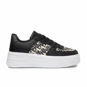 Γυναικεία μαύρα sneakers με πλατφορμα