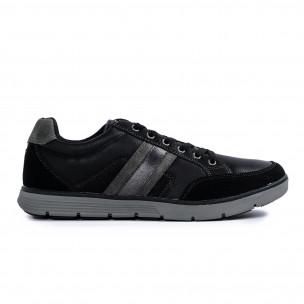 Ανδρικά μαύρα sneakers με γκρι λεπτομέρειες 2