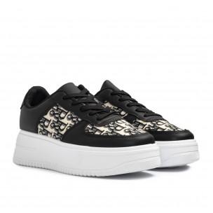 Γυναικεία μαύρα sneakers με πλατφορμα 2