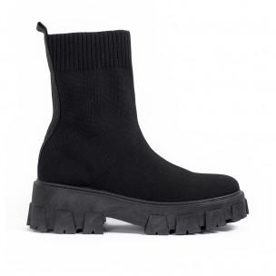 Γυναικεία μαύρα μποτάκια κάλτσα