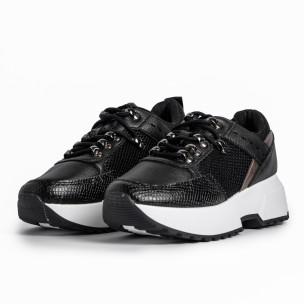 Sneakers με συνδυασμό υλικών σε μαύρο χρώμα  2