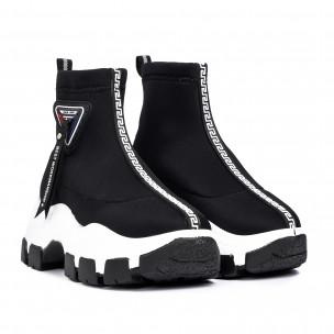 Γυναικεία μαύρα ψηλά sneakers Slip-on 2