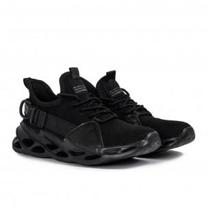 Ανδρικά μαύρα αθλητικά παπούτσια Chevron All black Kiss GoGo 2