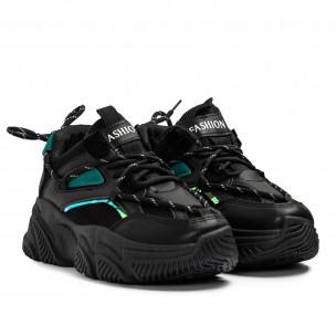 Γυναικεία μαύρα Chunky sneakers με δίχτυ  2