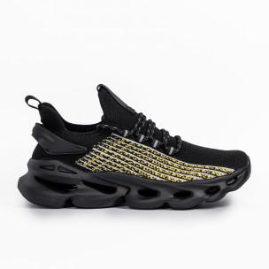 Ανδρικά μαύρα αθλητικά παπούτσια σε υφή Kiss GoGo