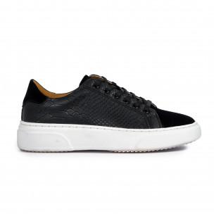 Ανδρικά μαύρα sneakers με Shagreen design Gianni